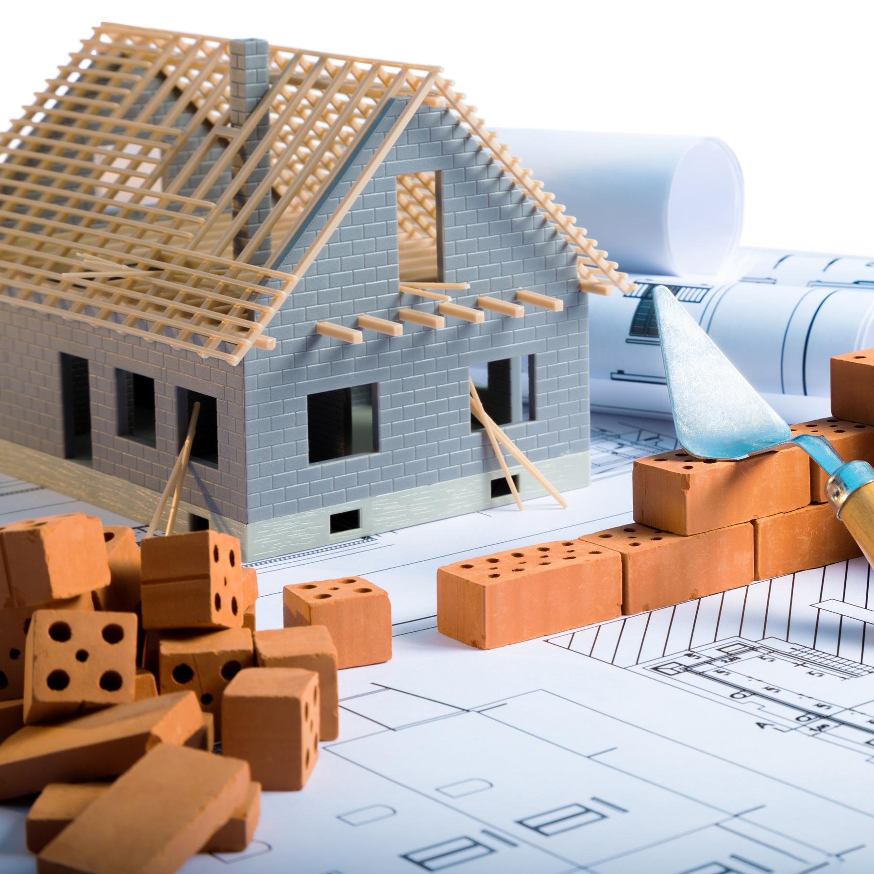 house model, bricks blueprints