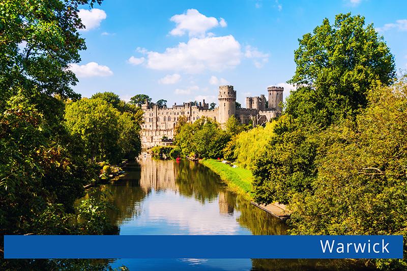 Warwick, UK. Castle of Warwick with river